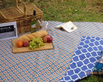 Orange and Blue Geometric/Moroccan Picnic Blanket