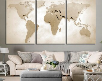 World Map Canvas Print Beige World Map Extra Large Wall Art Vintage Oversized Horizontal Wall Art Poster Map Canvas Set for Home Panel Art