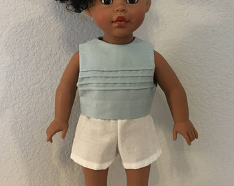 "Blue Top with seamed accents, and white short shorts.  Hand made to fit American Girl or similar 18"" Doll"