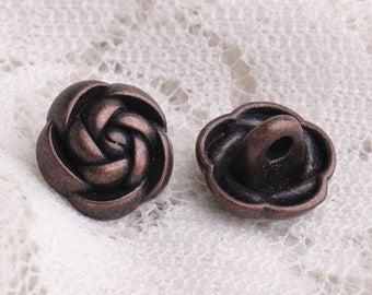flower buttons 10pcs 10*6mm metal buttons copper buttons decorative buttons shank buttons