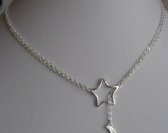Star and Moon Lariat Necklace. Silver Plated Necklace. Minimalist Star and Moon Necklace. Airy Silver Plated Necklace.