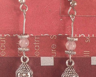 Rose quartz Buddha Earring