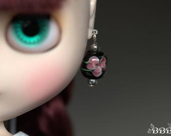 Floral glass earrings for Blythe or similar doll.