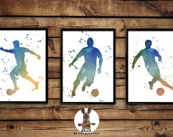 Footballers silhouette set of 3 posters wall art home decor print