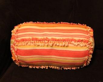 Fleece Decorative Tied Pillow, cushion, bolster, striped, kids room
