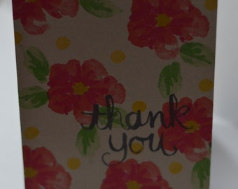 Hand Stamped Fancy Flowers Thank You Card