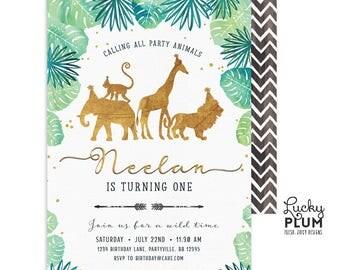 Gold Safari Birthday Invitation / Jungle Birthday Invitation / Wild Birthday Invitation / Zoo Birthday Invitation /  First Birthday Boy Gold