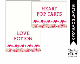 Valentines Food Tent Card / Valentines Place Card / Cupid Heart Food Card / Red Pink Floral Place Card / DIY Printable VL01