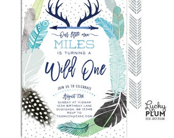 Wild One Birthday Invitation / Wild One First Birthday Invitation / Boho Tribal Arrow Deer Antler Adventure Blue Green *Digital Printable