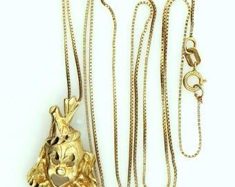 14k Gold Cute Clown Necklace