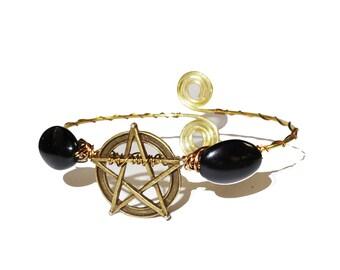 Pentagram brass ethnic bohemian upper arm bracelet, armlet.
