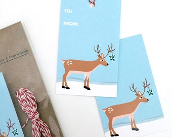 Mistletoe Deer Christmas Gift Tags Set - Cute Reindeer Mistletoe Holiday Christmas New Year Gift Tag - Gift Tag Set with Twine, Cute Gift