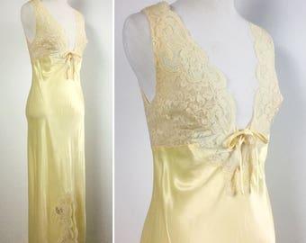 Yellow Lace Nightgown, Satiny Buttercream Yellow, Deep V Neck, Off-White Beige Lace, Corset Bow, Vintage 60s Bonwit Teller, Ralph Montenero