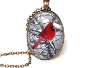 Winter Cardinal Oval Pendant, Necklace or Key Chain - Bird Necklace