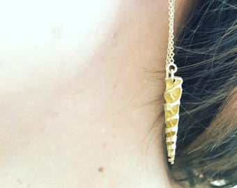 Spiral horn shell threader earrings- gold or silver