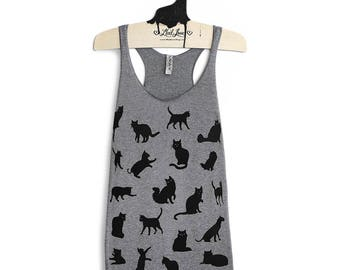 M -Tri-Blend Heather Gray Racerback Tank with Cat Pattern Screen Print
