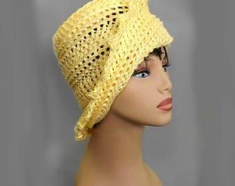 Crochet Hat Womens Hat Trendy,  Crochet Bucket Hat Women,  Buttercup Yellow Hat,  Cotton Beanie Hat,  Lauren