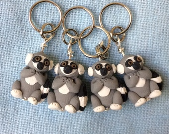 Lemur Polymer Clay Stitch Markers (group of 4 miniature sculpted Knitting, crochet accessories)