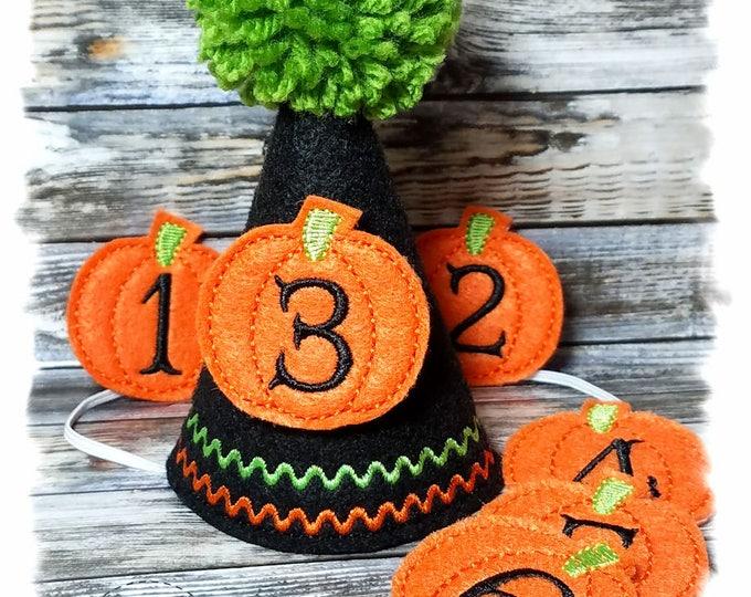 Halloween Dog Birthday Hat SET with Pumpkin Numbers 1-9, Halloween Costume, Reusable Birthday Party Hat, Dog First Birthday, Felt Pumpkins