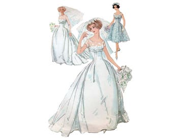 60s Wedding Gown pattern Bridesmaid Dress pattern Party Dress 31.5-24.5-33.5 XS Hourglass Dress pattern Shelf Bust dress Simplicity 2835