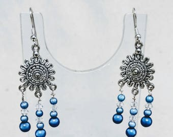 Silver, Blue and Crystal Dangle Earrings