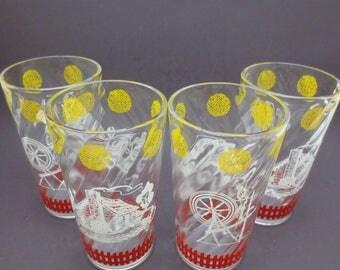 Vintage Hazel Atlas Glass Set of 4 Red Yellow White Spinning Wheel Log Cabin Retro Mid Century 50s