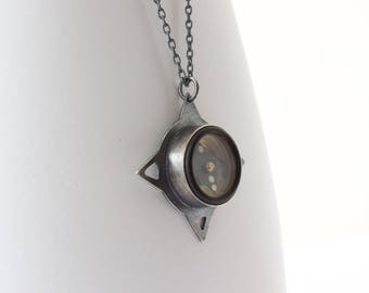 Working Survival Compass Necklace - Pierced Sterling Silver - Oxidized - Unusual Metalsmith Jewelry