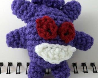 Crocheted Plush Purple Ghost Monster