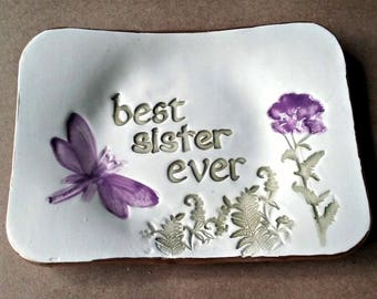 Best Sister Ceramic Trinket Dish  ring dish jewelry holder edged in gold