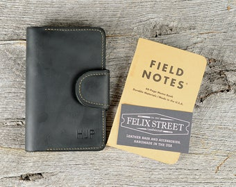 Handmade Black Leather Memo Book Cover with Personalized Initials, Pen Holder, Card Slot - Field Notes, Moleskin, Journal, Notebook Case