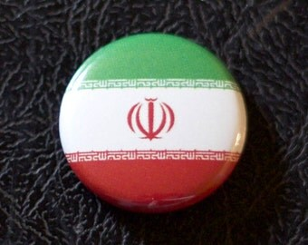 "1"" Iran flag button, country, pin, badge, pinback, Made in USA"