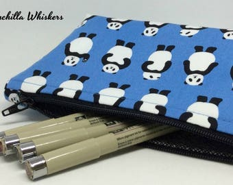 Panda Zippered Pouch in Sky