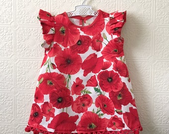 Poppy red pompom dress Supayana SS2018