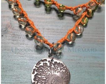 "Boho Jewelry, Flower Pendant, Sunflower Pendant, Removable 1"" Sterling Silver Pendant"