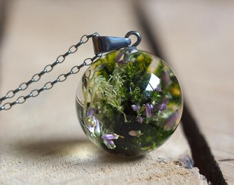 Woodland Necklace, Dark Silver, Heather and Moss Necklace, Forest Jewelry, Terrarium Jewelry, Terrarium Necklace, Bold Jewelry