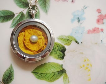 Locket Necklace Aqua Necklace Pearl Necklace Dried Flower Necklace Rose Necklace Marigold Necklace Mustard Necklace Bridesmaid Jewelry Gift