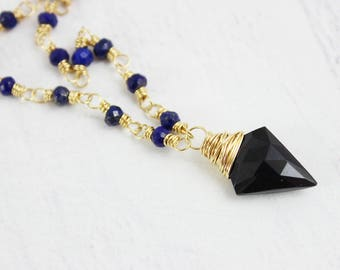Black Spinel Necklace, Dark Blue Necklace, Gemstone Pendant Necklace, Wire Wrap Necklace, Gold Filled Necklace, Lapis Lazuli Necklace