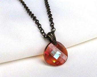 Red Crystal Disc Pendant Antique Brass Rolo Necklace, Swarovski Checkerboard Aurora Borealis Crystal Red Magma