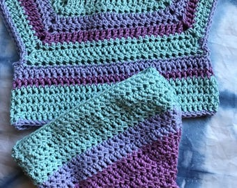 Hand Crocheted Top & Butterfly Booty Cover Diaper 6-12mo