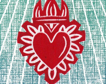Sacred Heart Print ACEO Milagro Gift Stocking Stuffer Christmas Tree