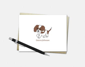 Personalized Beagle Dog Note Cards - Beagle Dog Note Cards - Personalized Note Cards - Stationery for Kids - Custom Beagle Dog Note Cards