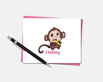 Baby Monkey Note Cards - Personalized Baby Monkey Note Cards - Personalized Stationery for Kids - Baby Monkey Note Card
