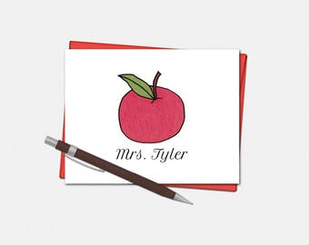 Teacher Note Cards - Set of 10 - Folded Note Cards - Teacher Gifts - Teacher Stationery - Apple Stationery - Personalized Apple Note Cards