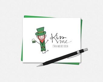 St Patricks Day Cards - Kiss Me I'm a Wee Bit Irish - Leprechaun Card - Funny St. Patrick's Day Card