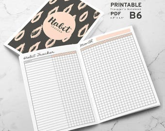 Printable Habit Tracker B6 Traveler's Notebook Inserts, B6 Habit Tracker Inserts, Printable B6 Travelers Notebook inserts, PDF file