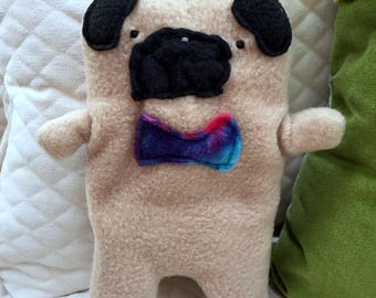 Frank ~ The Fawn Pug Bow Tie Bummlie ~ Stuffing Free Dog Toy ~ Ready To Ship Today - Blue & Purple Tie Dye Bow Tie