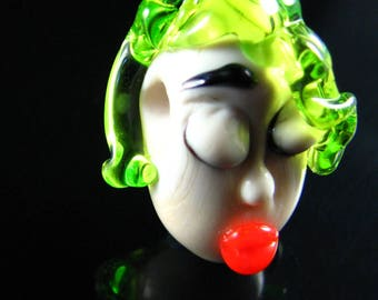 The Green Haired Beauty...Handmade Lampwork Focal Head Bead...Ladies of the Flame.. SRA
