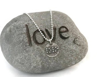 Sterling silver LOVE braille necklace