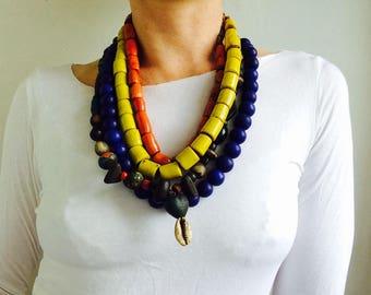 Quartet of Beautiful Dark Red Glass Trade Bead Necklaces . Nepalese/Tibetan. Tribal. Beautiful!!