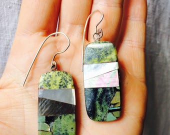 Santo Domingo Pueblo Stone Mosaic Earrings. Serpentine & Mother of Pearl. Native American